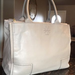 Tory Burch Leather Canvas Bag - French Grey